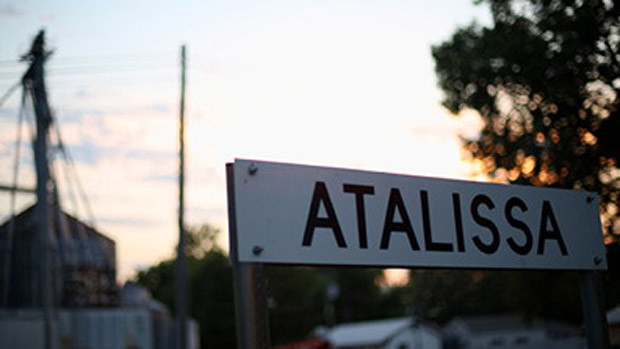 Street sign announcing Atalissa