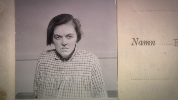 Black and white photograph of a woman in a patient's dossier