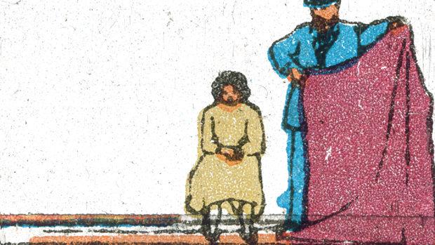 Animiertes Bild eines Mannes, der eine auf einem Stuhl sitzende Frau hinter einer vorgehaltenen Decke versteckt