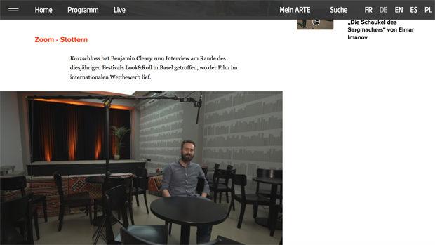 Screenshot der Website von ARTE TV mit dem Hinweis auf ein Interview bei look&roll 2016