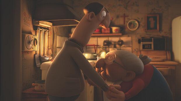 Eine alte gebückte Frau und ein grosser Mann stehen Hand in Hand in der Küche