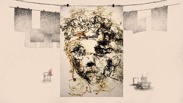 Ein in groben Strichen gezeichnetes Frauengesicht