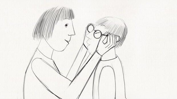 Blietsiftzeichnung einer Mutter, die ihrem Sohn eine Brille aufsetzt