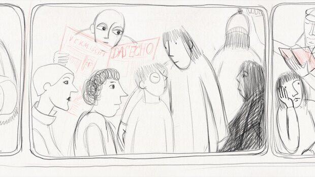 Bleistiftzeichnung von Passagieren in einem Bus
