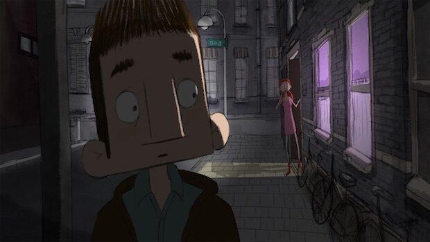 Animationsfilmbild, Portrait eines jungen Mannes im Halbdunkel
